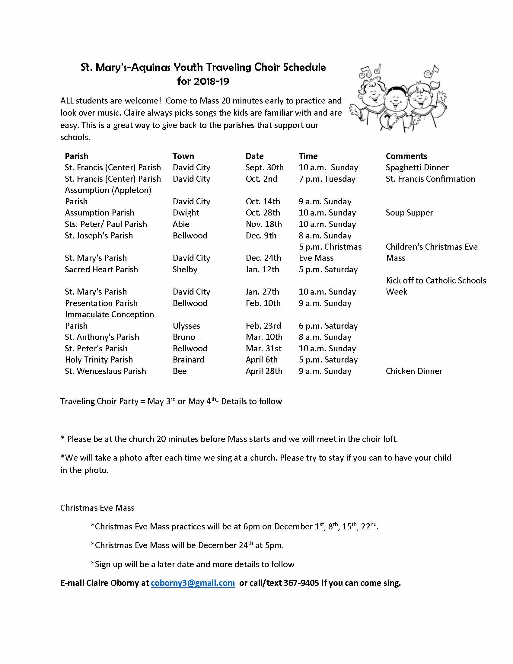 Aquinas & St  Mary's Catholic Schools » Traveling Choir