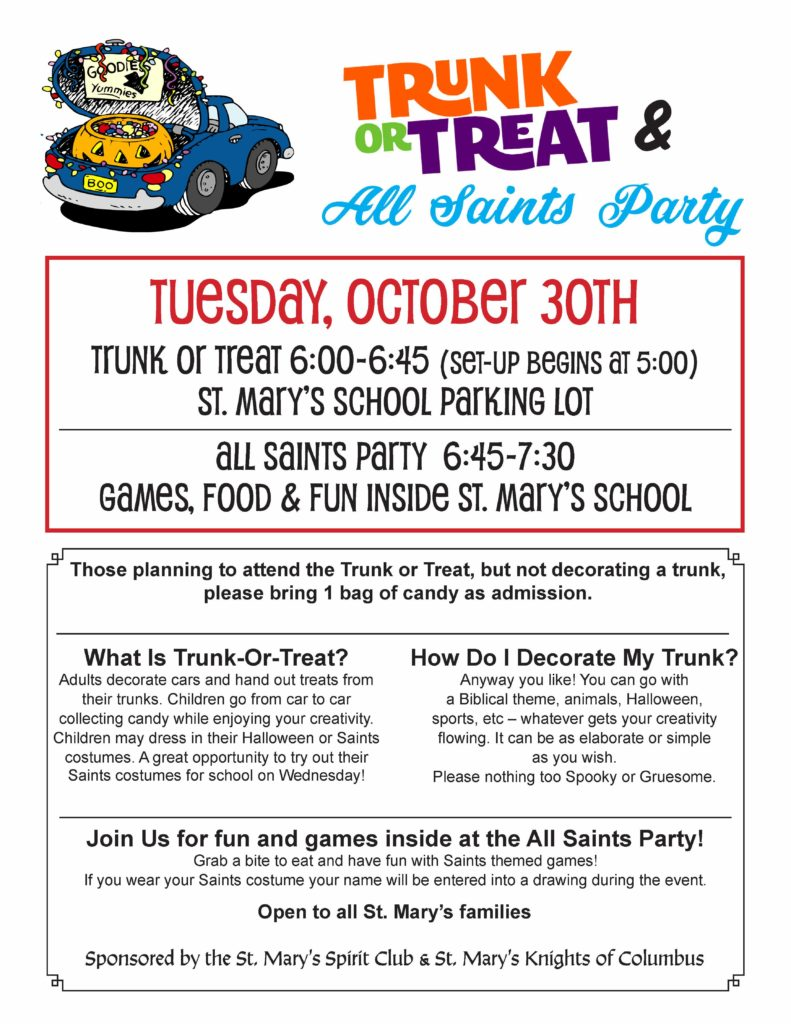 Trunk or Treat & All Saints Party